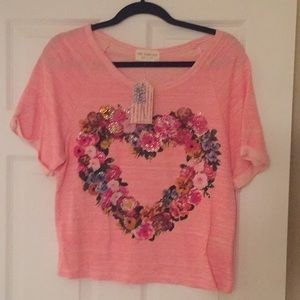 The Classic NWT short sleeve embellished heart top